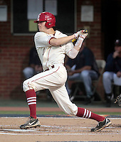 Arkansas infielder Brian Anderson (1) hits a single during an NCAA college baseball regional tournament game against Virginia in Charlottesville, VA., Friday, June 1, 2014. (Photo/Andrew Shurtleff)