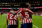 (L-R) Kieran Trippier, Thomas Teye and Rodrigo Riquelme of Atletico de Madrid celebrate goal during La Liga match between Atletico de Madrid and SD Eibar at Wanda Metropolitano Stadium in Madrid, Spain.September 01, 2019. (ALTERPHOTOS/A. Perez Meca)