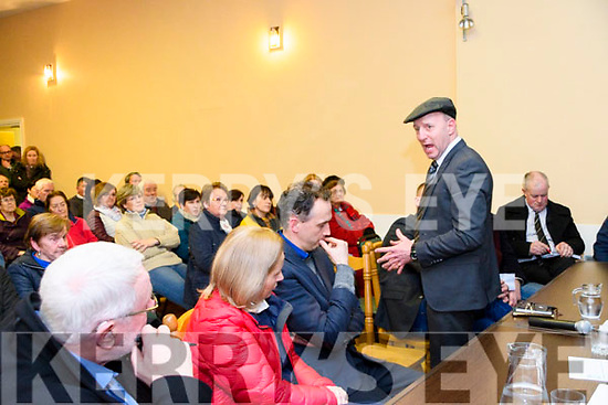 Michael Healy Rae speaking at the meeting at Glencar Community Centre for the retention of Glencar Post Office at  on Friday night.
