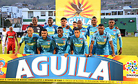 TUNJA- COLOMBIA, 27-08-2018:Formación de Jaguare de Córdoba.Acción de juego entre los equipos Patriotas Boyacá y  Jaguares de Córdoba durante partido por la fecha 6 de la Liga Águila II 2018 jugado en el estadio La Independencia de la ciudad de Tunja. /Team of JaguAres of Cordoba.Action game between  Patriotas Boyaca and Jaguares of Cordoba during the match for the date 6 of the Liga Aguila II 2018 played at the La Independencia stadium in Tunja city. Photo: VizzorImage / José Miguel Palencia / Contribuidor