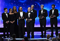 MOUNTAIN VIEW, CA - DECEMBER 3:  Physics winners Chuck Bennett, Gary Hinshaw, Norm Jarosik, Lyman Page, and David Spergel appear on the 6th Annual Breakthrough Prize at NASA Ames Research Center on December 3, 2017 in Mountain View, California. (Photo by Frank Micelotta/NatGeo/PictureGroup)