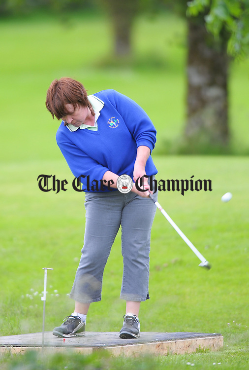 Kilnamona's Helen Daly tees off during the Munster Ladies Pitch And Putt Stroke Play Championships at Kilnamona. Photograph by John Kelly..