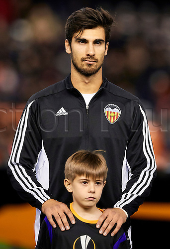 18.02.2016. Mestalla Stadium, Valencia, Spain. Europa League. Valencia versus Rapid Wien. Midfielder Andre Gomes of Valencia CF looks on
