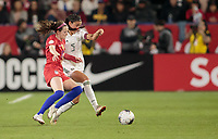 CARSON, CA - FEBRUARY 7: Jimena Lopez #5 of Mexico and Rose Lavelle #16 of USA battle for a ball during a game between Mexico and USWNT at Dignity Health Sports Park on February 7, 2020 in Carson, California.