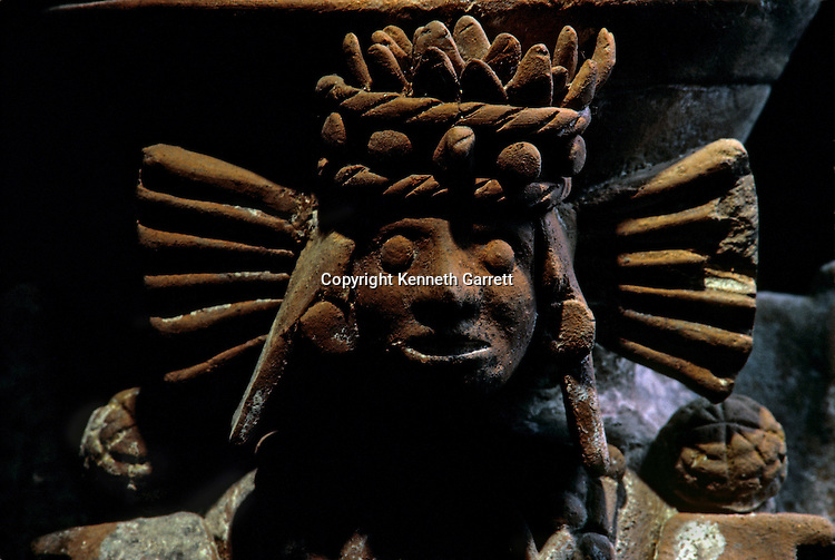 A cereamic incenser-burner with deity figure, traces of white paint, Tenochtitlan, Templo Mayor, Aztec, Mexico, Mexico City, Great Temple of the Aztecs.