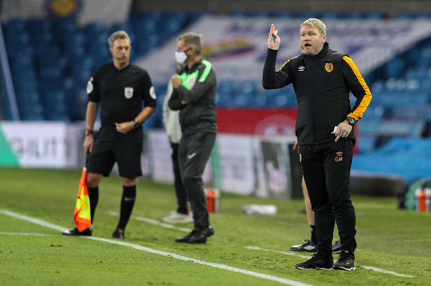 Hull City manager Grant McCann shouts instructions to his team from the technical area<br /> <br /> Photographer Alex Dodd/CameraSport<br /> <br /> Carabao Cup Second Round Northern Section - Leeds United v Hull City -  Wednesday 16th September 2020 - Elland Road - Leeds<br />  <br /> World Copyright © 2020 CameraSport. All rights reserved. 43 Linden Ave. Countesthorpe. Leicester. England. LE8 5PG - Tel: +44 (0) 116 277 4147 - admin@camerasport.com - www.camerasport.com