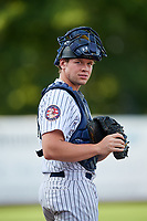 Staten Island Yankees catcher Josh Breaux (28) during a game against the Lowell Spinners on August 22, 2018 at Richmond County Bank Ballpark in Staten Island, New York.  Staten Island defeated Lowell 10-4.  (Mike Janes/Four Seam Images)