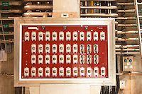 The winery control panel. It shows each of the fermentation tanks in white and on each tank you can read the temperature of the wine and regulate if it should be heated or cooled.  Domaine E Guigal, Ampuis, Cote Rotie, Rhone, France, Europe