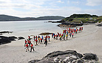 8-7-2017: Some of the participants pictured walking on Derrynane Strand in County Kerry on Saturday in the Kerry Way Walk in aid of Breakthrough Cancer Research. The three day charity walk around South Kerry attracts walkers from all over Ireland and has raised over €670,000 in its 14 year history.<br /> Photo Don MacMonagle<br /> <br /> Repro free photo breakthrough cancer research
