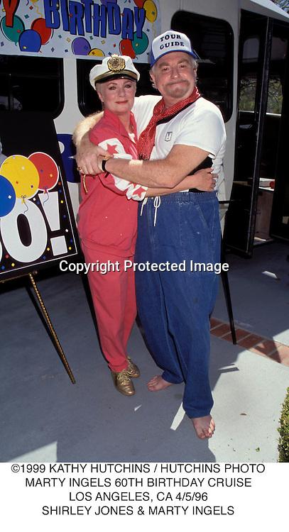 ©1999 KATHY HUTCHINS / HUTCHINS PHOTO.MARTY INGELS 60TH BIRTHDAY CRUISE.LOS ANGELES, CA 4/5/96.SHIRLEY JONES & MARTY INGELS