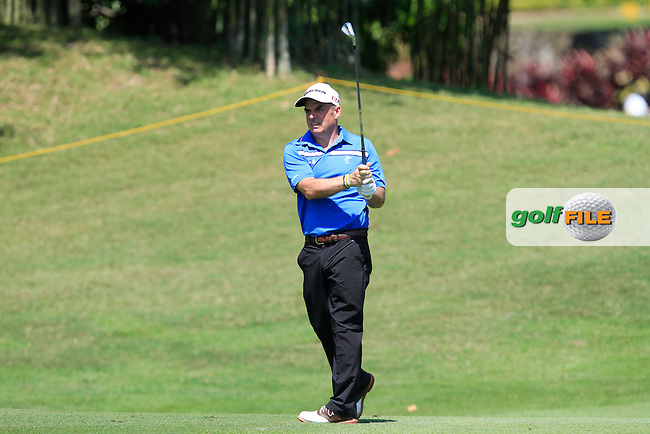 Paul McGinley (IRL) on the 18th fairway during Round 4 of the Maybank Malaysian Open at the Kuala Lumpur Golf &amp; Country Club on Sunday 8th February 2015.<br /> Picture:  Thos Caffrey / www.golffile.ie