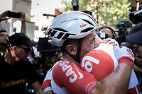 stage winner Caleb Ewan (AUS/Lotto Soudal) congratulated by teammate Roger Kluge (DEU/Lotto Soudal)<br /> <br /> Stage 11: Albi to Toulouse (167km)<br /> 106th Tour de France 2019 (2.UWT)<br /> <br /> ©kramon