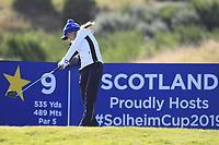 Azahara Munoz of Team Europe on the 9th tee during Day 1 Foursomes at the Solheim Cup 2019, Gleneagles Golf CLub, Auchterarder, Perthshire, Scotland. 13/09/2019.<br /> Picture Thos Caffrey / Golffile.ie<br /> <br /> All photo usage must carry mandatory copyright credit (© Golffile | Thos Caffrey)