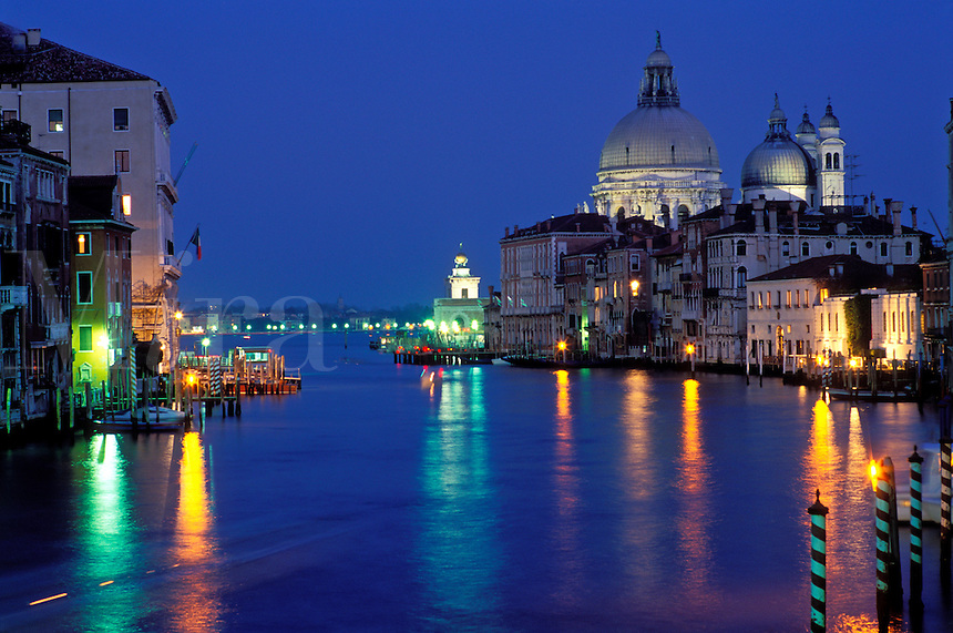 Italy, Venice, The Grand Canal with Santa Maria della Salute  illuminated at night