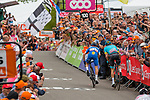 Sprint to victory with Julian Alaphilippe (FRA) of Deceuninck - Quick Step (BEL,WT,Specialized) and Jakob Fuglsang (DEN) of Astana Pro Team (KAZ,WT,Argon 18) during the 2019 La Fl&egrave;che Wallonne (1.UWT) with 195 km racing from Ans to Mur de Huy, Belgium. 24th April 2019. Picture: Pim Nijland | Peloton Photos/Cyclefile<br /> <br /> All photos usage must carry mandatory copyright credit (Peloton Photos/Cyclefile | Pim Nijland)