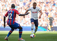 Harry Kane of Tottenham Hotspur takes on Mamadou Sakho of Crystal Palace during the Premier League match between Tottenham Hotspur and Crystal Palace at Wembley Stadium, London, England on 14 September 2019. Photo by Vince  Mignott / PRiME Media Images.