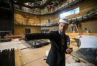 NWA Democrat-Gazette/BEN GOFF @NWABENGOFF<br /> Martin Miller, executive director of TheatreSquared, talks about the West Theatre Friday, March 1, 2019, while giving a tour of the new TheatreSquared building under construction in downtown Fayetteville. The West Theatre is the larger of two performance spaces in the new building.