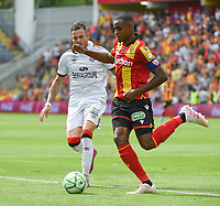 20190803 - LENS , FRANCE : Lens' Steven Fortes (R) and Guigamp's Nolan Roux (L) pictured during the soccer match between Racing Club de LENS and En Avant Guingamp , on the second matchday in the French Dominos pizza Ligue 2 at the Stade Bollaert Delelis stadium , Lens . Saturday 3 th August 2019 . PHOTO DIRK VUYLSTEKE | SPORTPIX.BE