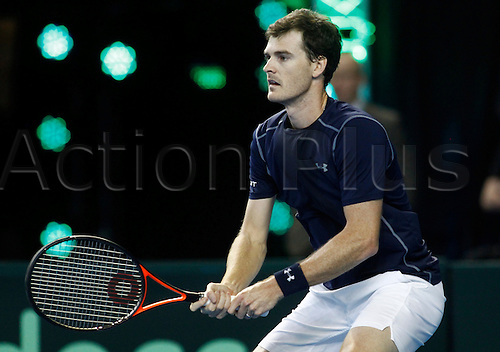 05.03.2016. Barclaycard Arena, Birmingham, England. Davis Cup Tennis World Group First Round. Great Britain versus Japan. Jamie Murray of Great Britain during the doubles match between Great Britain's Andy Murray and Jamie Murray and Japan's Yoshihito Nishioka and Yasutaka Uchiyama on day 2 of the tie.