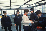 Northern Ireland The Troubles. 1980s. 1981, Female RUC policewomen seach  a shopper enterig sewcure area of Belfast.