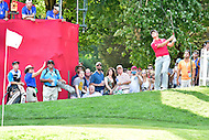 Bethesda, MD - June 26, 2016: John Rahm hits out of the crowd on the seventeenth hole during Final Round of play at the Quicken Loans National Tournament at the Congressional Country Club in Bethesda, MD, June 26, 2016. (Photo by Philip Peters/Media Images International)