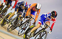 19 FEB 2012 - LONDON, GBR - Great Britain's Victoria Pendleton (GBR) (on right in blue and red) leads a pack during her Women's Keirin semi final at the UCI Track Cycling World Cup and London Prepares test event for the 2012 Olympic Games  in the Olympic Park Velodrome in Stratford, London, Great Britain .(PHOTO (C) 2012 NIGEL FARROW)