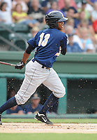 Infielder Jose Mojica (13) of the Charleston RiverDogs, Class A affiliate of the New York Yankees, in a game against the Greenville Drive on July 31, 2011, at Fluor Field at the West End in Greenville, South Carolina. (Tom Priddy/Four Seam Images)