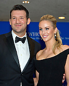 Dallas Cowboy's quarterback Tony Romo and wife Candice Crawford arrive for the 2016 White House Correspondents Association Annual Dinner at the Washington Hilton Hotel on Saturday, April 30, 2016.<br /> Credit: Ron Sachs / CNP<br /> (RESTRICTION: NO New York or New Jersey Newspapers or newspapers within a 75 mile radius of New York City)