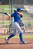 Kansas City Royals first baseman Nick Pratto (13) follows through on his swing during an Instructional League game against the San Francisco Giants at the Giants Training Complex on October 17, 2017 in Scottsdale, Arizona. (Zachary Lucy/Four Seam Images)