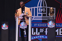 Canton, Ohio - August 3, 2019: Champ Bailey gives his enshrinement speech at the Tom Benson Hall of Fame Stadium in Canton, Ohio August 3, 2019 after his induction into the Pro Football Hall of Fame.  (Photo by Don Baxter/Media Images International)