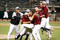 The Desert Ridge Jaguars (Mesa, AZ) celebrate  after defeating the  Horizon Huskies (Scottsdale, AZ), 9-8, in the state 5A-II championship game at Phoenix Municipal Stadium, 5/16/2009..Photo by:  Bill Mitchell/Four Seam Images