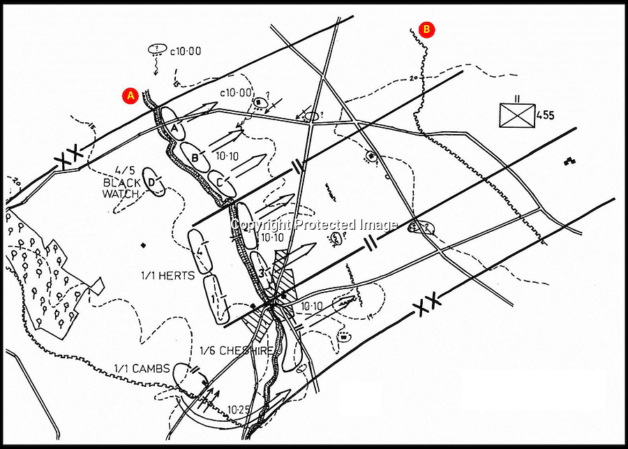 BNPS.co.uk (01202 558833)<br /> Pic: ChristinaReynolds/BNPS<br /> <br /> ***Please use full byline***<br /> <br /> A shows the course of the Steenbeek River, B is the German third line trench system.<br /> <br /> The incredible story of how a dying soldier's last wish for a photo he was found holding<br /> be returned to his family was fulfilled by the German who killed him has emerged.<br /> <br /> Sergeant Percy Buck clutched the black and white photo of his wife Bertha and young son Cyril as he lay fatally wounded in a shell hole on the Western Front.<br /> <br /> On the back, he had earlier written his address and asked for whoever found the photo to post it back to his loved ones in the event of his death.<br /> <br /> Sgt Buck would have assumed it would be a British comrade who would do the kindly deed if required.<br /> <br /> But the person who recovered the poignant image from his body was Gefreiter Josef Wilczek, the German soldier who is most likely to have fired the shots that killed Sgt Buck.
