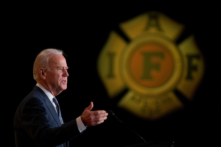 UNITED STATES - MARCH 09: Vice President Joe Biden speaks during the International Association of Fire Fighters Legislative Conference General Session at the Hyatt Regency on Capitol Hill, March 9, 2015. (Photo By Tom Williams/CQ Roll Call)