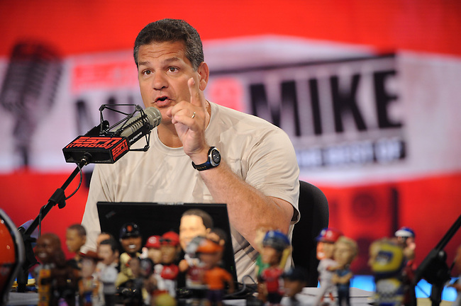 August  15, 2011 - Bristol, CT - Studio E:  Mike Greenberg and Mike Golic..Credit: Joe Faraoni/ESPN
