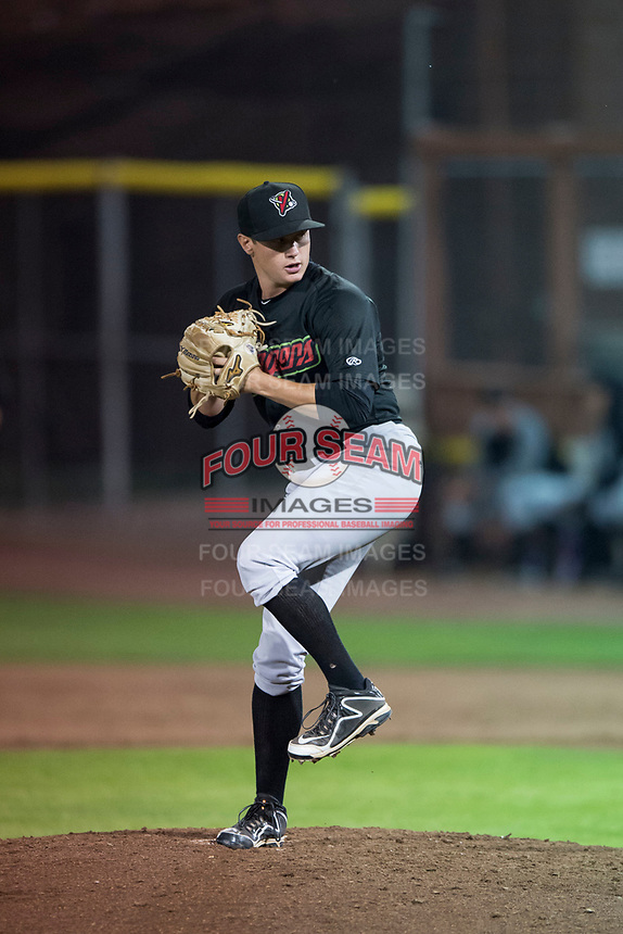 Great Falls Voyagers relief pitcher Wyatt Burns (6) delivers a pitch during a Pioneer League game against the Idaho Falls Chukars at Melaleuca Field on August 18, 2018 in Idaho Falls, Idaho. The Idaho Falls Chukars defeated the Great Falls Voyagers by a score of 6-5. (Zachary Lucy/Four Seam Images)