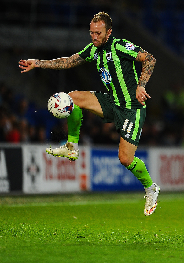 AFC Wimbledon's Sean Rigg in action during todays match  <br /> <br /> Photographer Craig Thomas/CameraSport<br /> <br /> Football - Capital One Cup First Round - Cardiff City v AFC Wimbledon - Tuesday 11th August 2015 - Cardiff City Stadium - Cardiff <br /> &copy; CameraSport - 43 Linden Ave. Countesthorpe. Leicester. England. LE8 5PG - Tel: +44 (0) 116 277 4147 - admin@camerasport.com - www.camerasport.com