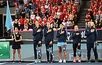 The Kazakhstan team during their national anthem. Rubber 1. World group II play off in the BNP Paribas Fed Cup. Copper Box arena. Queen Elizabeth Olympic Park. Stratford. London. UK. 20/04/2019. ~ MANDATORY Credit Garry Bowden/Sportinpictures - NO UNAUTHORISED USE - 07837 394578
