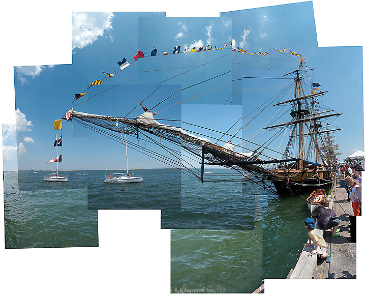 The bowsprit of a visiting ship at the Tall Ships Festival in Cleveland.