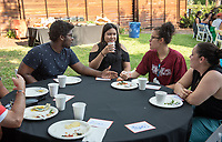 Incoming first-years participating in MSI have dinner with Oxy faculty and staff in the ICC backyard, July 31, 2018.<br /> The Multicultural Summer Institute (MSI) is a four-week academic/residential program for approximately 50 incoming first-year students who represent a variety of ethnic, regional and cultural backgrounds. Through MSI, Occidental College introduces its student body to the social, cultural and intellectual resources of Southern California, and familiarizes students with the Oxy community and surrounding Los Angeles area.<br /> (Photo by Marc Campos, Occidental College Photographer)