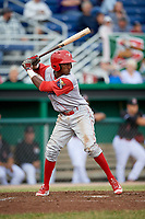 Williamsport Crosscutters center fielder Keudy Bocio (27) at bat during a game against the Batavia Muckdogs on June 22, 2018 at Dwyer Stadium in Batavia, New York.  Williamsport defeated Batavia 9-7.  (Mike Janes/Four Seam Images)