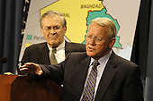 Former United States Director for Iraqi Reconstruction and Humanitarian Assistance Jay Garner  (right) joins U.S. Secretary of Defense Donald H. Rumsfeld (left) for a media availability at the Pentagon in Washington, DC on June 18, 2003.  Garner spoke of his experiences in Iraq saying that while many Iraqis complained to him about the lack of electricity or water, they would almost invariably follow their criticisms with a thank you for removing Saddam Hussein from power.                              <br /> Mandatory Credit: Robert D. Ward / DoD via CNP