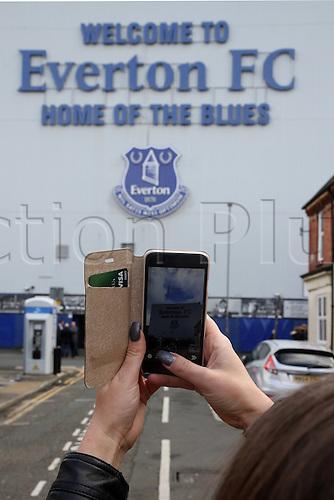 05.03.2016. Goodison Park, Liverpool, England. Barclays Premier League. Everton versus West Ham. West Ham fan captures the approach to the stadium