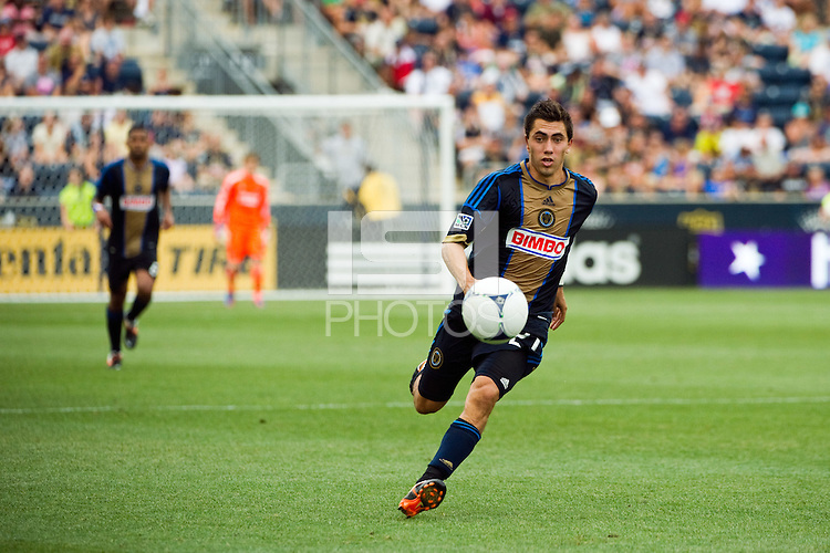 Michael Farfan (21) of the Philadelphia Union. The Philadelphia Union defeated Toronto FC 3-0 during a Major League Soccer (MLS) match at PPL Park in Chester, PA, on July 8, 2012.
