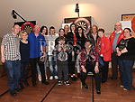 Ollie Thompson, Elaine Thornton, Sarah Thompson and Tricia Johnson organisers of the Jillian Thornton Memorial darts tournament with Jillians family held in the Thatch. Photo:Colin Bell/pressphotos.ie