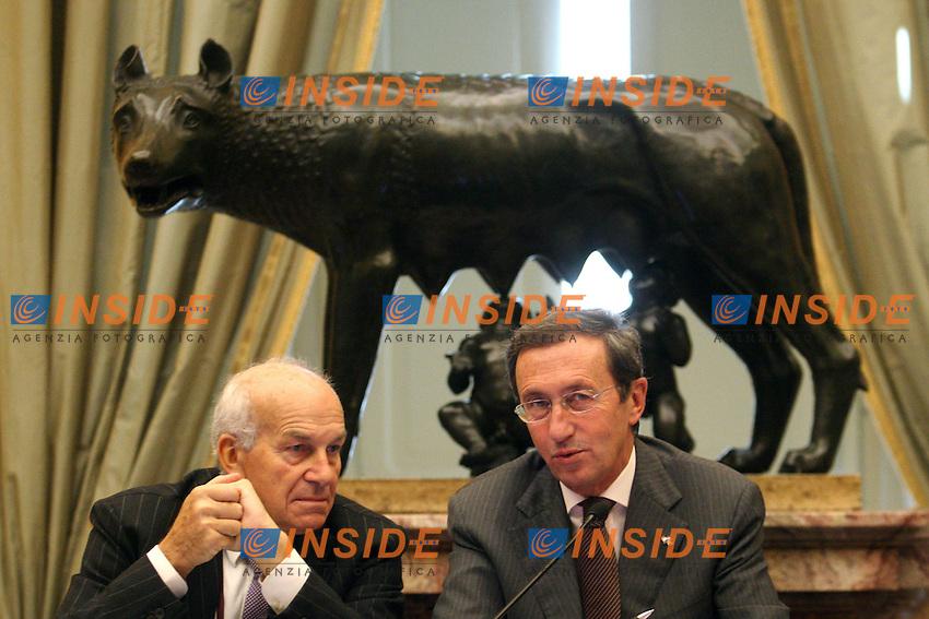 FAUSTO BERTINOTTI E GIANFRANCO FINI.Roma 07/03/2011 Convegno allla Sala della Lupa: Le donne nelle istituzioni..Photo Zucchi Insidefoto
