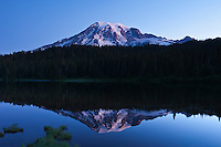 Mount Rainier at dawn from Reflection lake, Mt Rainier national park, Washington, USA