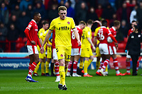 Fleetwood Town's Harry Souttar walks off after being shown a red card by Referee Sebastian Stockbridge<br /> <br /> Photographer Richard Martin-Roberts/CameraSport<br /> <br /> The EFL Sky Bet League One - Barnsley v Fleetwood Town - Saturday 13th April 2019 - Oakwell - Barnsley<br /> <br /> World Copyright &copy; 2019 CameraSport. All rights reserved. 43 Linden Ave. Countesthorpe. Leicester. England. LE8 5PG - Tel: +44 (0) 116 277 4147 - admin@camerasport.com - www.camerasport.com
