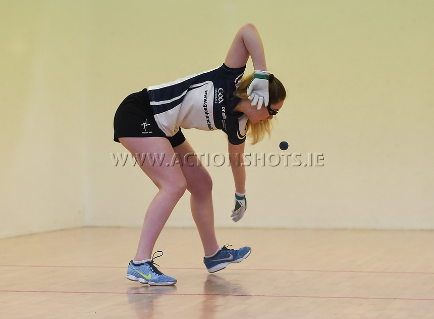 07/04/2018; GAA Handball O&rsquo;Neills 40x20 Championship Final Girls Minor Doubles Clare (Catriona Millane/Bridin Dinan) v Kildare (Leah Doyle/Molly Dagg); Kingscourt, Co Cavan;<br /> Leah Doyle<br /> Photo Credit: actionshots.ie/Tommy Grealy