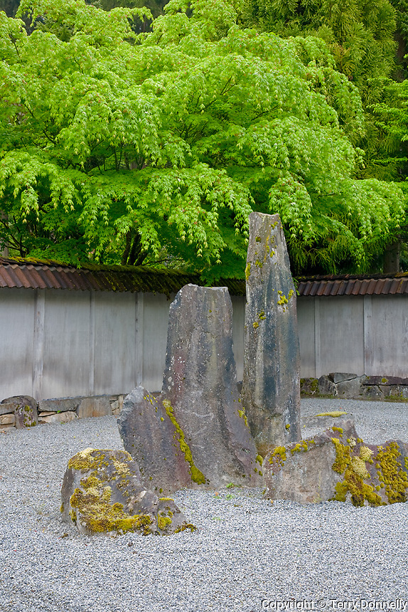 Woodinville, WA<br /> Raked sand and stone in the Zen garden of the Welch Sanctuary