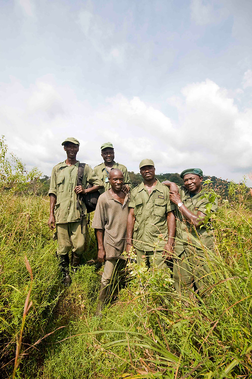 Rangers, forest guards and Ibrahim Kallon, Site Supervisor at Lalehun in the Gola Forest